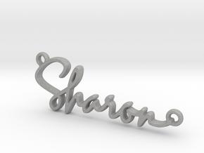 Sharon Script First Name Pendant in Aluminum