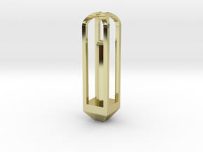 Octogonal Prism Pendant in 18k Gold Plated Brass: Small