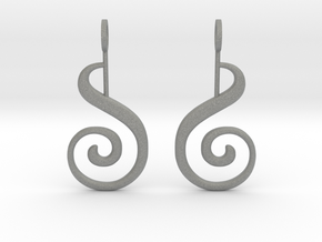 Spiral Earrings in Gray Professional Plastic