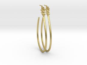 Teardrop Leaf Earrings studd 2 in Natural Brass
