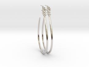Teardrop Leaf Earrings studd 2 in Rhodium Plated Brass