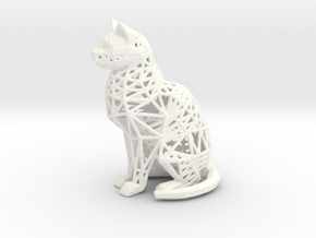 Wireframe Cat in White Processed Versatile Plastic
