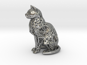 Wireframe Cat in Natural Silver
