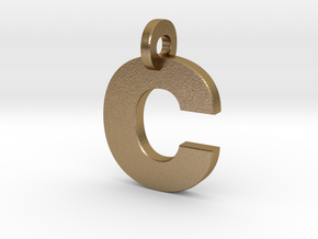 C Keychain in Polished Gold Steel: Small