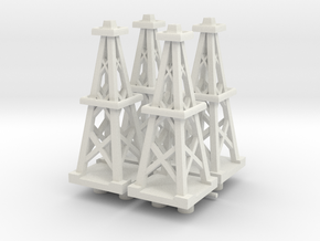 4 Inch Oil Derrick x4 in White Natural Versatile Plastic