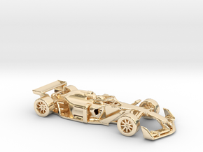 F1 2025 'Simplified' car 1/64 - with driver in 14k Gold Plated Brass