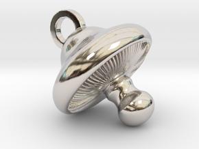 Little Mushroom Pendant in Rhodium Plated Brass
