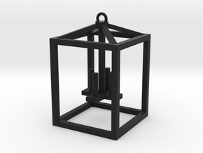 Lantern with faux candles -Medium in Black Natural Versatile Plastic