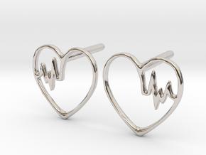 Heartbeat Earrings in Rhodium Plated Brass