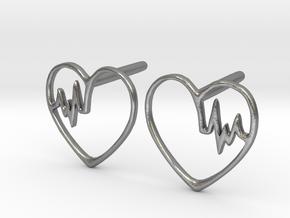 Heartbeat Earrings in Natural Silver