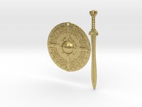 Celtic Shield Maiden Earrings in Natural Brass