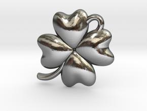 4 Leaf Clover Charm in Polished Silver