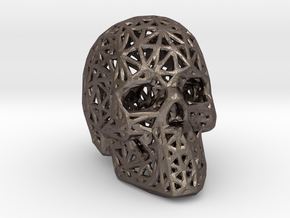 Human Skull with Pattern in Polished Bronzed-Silver Steel