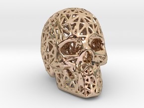 Human Skull with Pattern in 14k Rose Gold