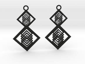 Geometrical earrings no.15  in Black Natural Versatile Plastic