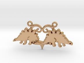 Stegosaurus dinosaur pendant in Polished Bronze