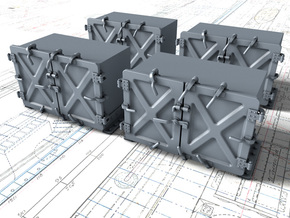 """1/48 Royal Navy 4"""" Ready Use Lockers (Small) x4 in Smooth Fine Detail Plastic"""