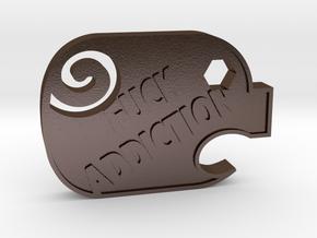 F**K Addiction Literal in Polished Bronze Steel