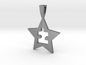 AUTISM STAR in Fine Detail Polished Silver