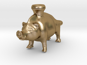 Keychain Boar Vessel, 600-500 BC, Etruscan in Polished Gold Steel