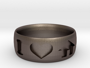 I Heart House Music Ring in Polished Bronzed-Silver Steel: 6 / 51.5