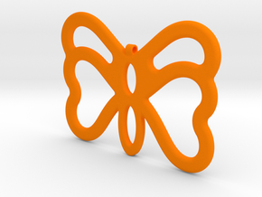 Butterfly Pendant / Necklace-23 in Orange Processed Versatile Plastic