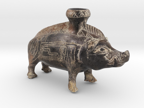 Mini Color Boar Vessel, 600-500 BC, Etruscan in Natural Full Color Sandstone