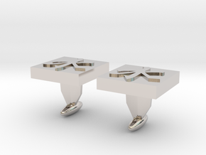 ​Confucianism Cuff Links in Rhodium Plated Brass