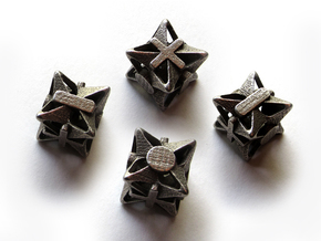 Fudge Pinwheel Die6 4d6 Set in Polished Bronzed Silver Steel