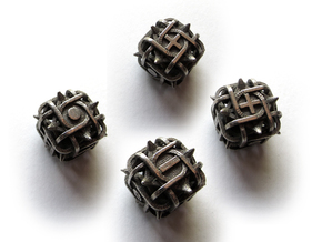 Fudge Thorn d6 4d6 Set in Polished Bronzed Silver Steel