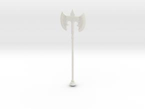 1:12 Miniature Skyrim Steel Battle Axe in White Natural Versatile Plastic: 1:12