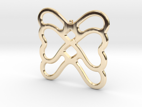 Butterfly Pendant / Necklace-22 in 14k Gold Plated Brass
