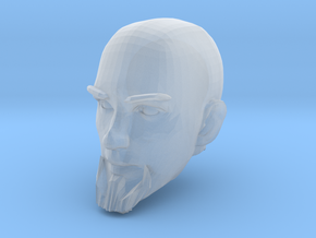 Bald Head with facial hair 2 in Smooth Fine Detail Plastic