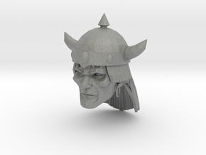 Barbarian Head with helmet 1 in Gray PA12