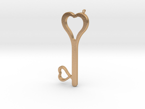Hearts Key Necklace-25 in Natural Bronze