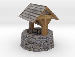 Miniature medieval well in Natural Full Color Sandstone