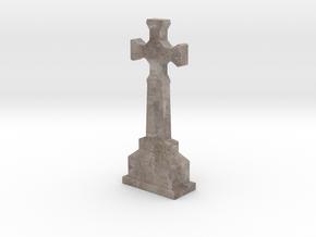 Miniature Stone Cross 01 in Natural Full Color Sandstone