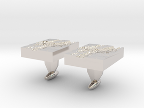 Valles Marineris Cuff links in Rhodium Plated Brass