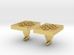 Endless knot cuff link in Polished Brass