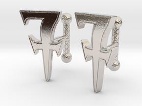 Monogrammed cufflink set in Rhodium Plated Brass