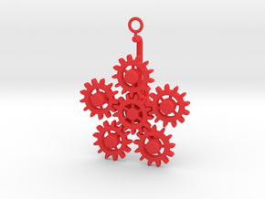 Planetary Gear Earring or pendant in Red Processed Versatile Plastic
