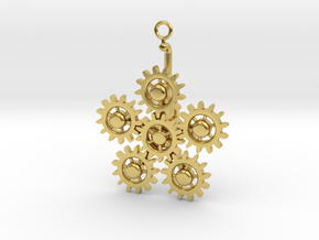Planetary Gear Earring or pendant in Polished Brass (Interlocking Parts)