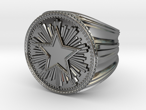 CS:GO Service Medal Ring in Fine Detail Polished Silver