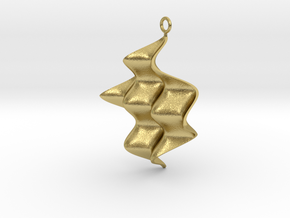 Sine Wave product Earring with sine edges. in Natural Brass