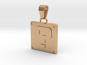 Mario Question Cube Pendant in Polished Bronze