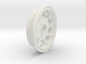 Aircraft Wheel, 1.625 in. Diameter in White Natural Versatile Plastic: 1:8