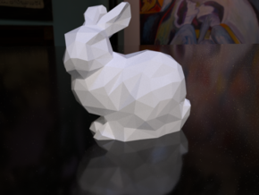 Polygonal Stanford Bunny 8cm Hollow in White Natural Versatile Plastic