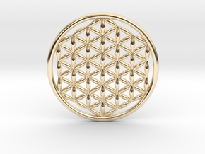 "Flower Of Life (no bale) 1.4""  in 14k Gold Plated Brass"
