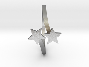 Stars Bypass Ring in Natural Silver