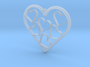 Hearts Necklace / Pendant-07 in Smooth Fine Detail Plastic